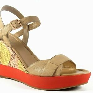 Cole Haan Paley Wedge Sandal Sandstone NEW IN BOX